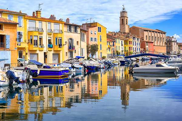 "Old town of Martigues in the southern France, called ""Venice of Provence"" for its many canals and colorful houses"